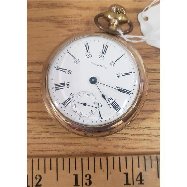 Waltham pocket watch - gold filled size 18