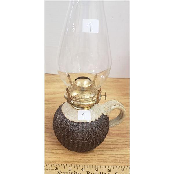 Hand made pottery coal oil lamp Baldwin Potteries