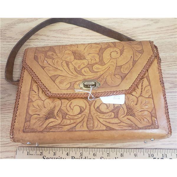 Hand tooled ladies leather purse