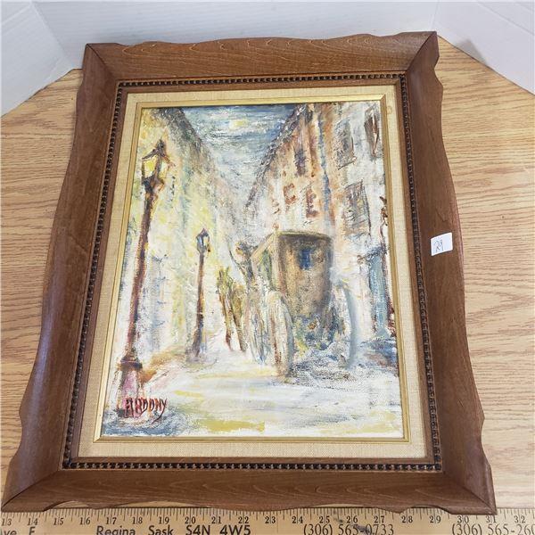 1900s Framed oil painting signed