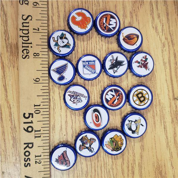 Lot of 18 NHL hockey team Beer bottle caps