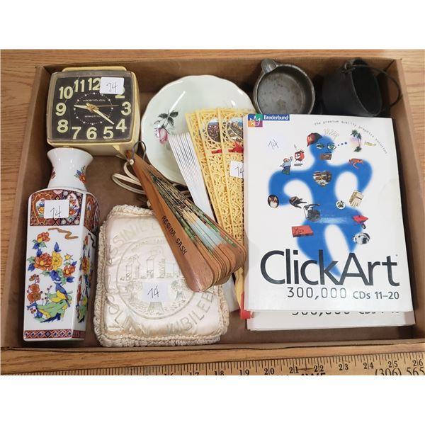 Box of Misc. fans clock case etc.