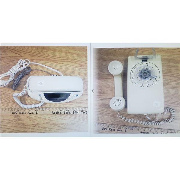 GE desk phone and vintage wall phone