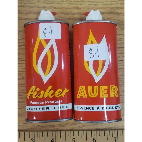 "Vintage auer / fisher lighter fluid tins ""empty"""