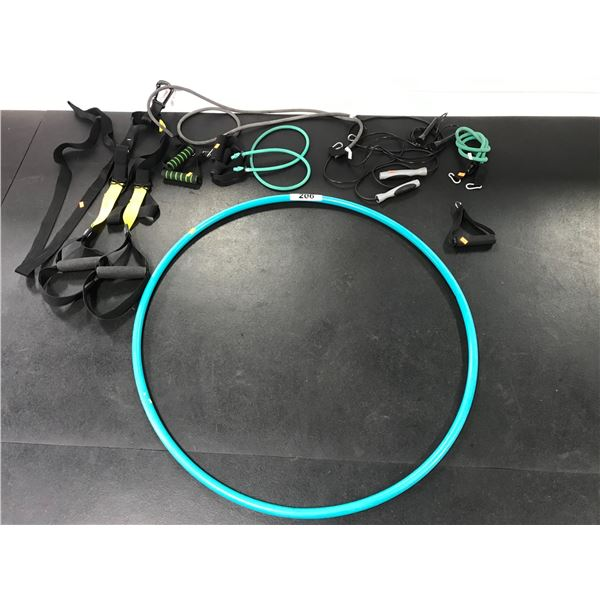 SMALL GROUP OF MISC. TRX STRAPS, 2 SKIP ROPES, RESISTANCE CORDS & HULA HOOP