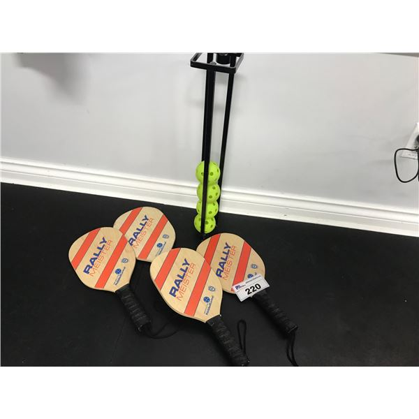 4 PICKLE BALL RACKETS & RACK WITH 4 BALLS