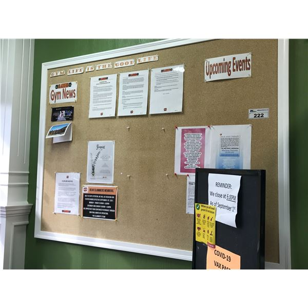 67  X 50  CORK BOARD (MUST BE REMOVED FROM WALL) WITH FREE STANDING NOTICE BOARD