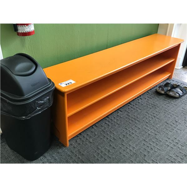 """2 ORANGE BENCHES 66"""" & 45"""" WITH SMALL GARBAGE RECEPTACLE"""