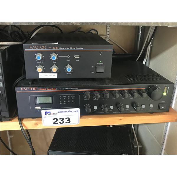 FACTOR COMMERCIAL MIXER AMPLIFIER X-7240-4  FOUR ZONE, 4 CHANNEL PLUS FACTOR B4240 AMPLIFIER