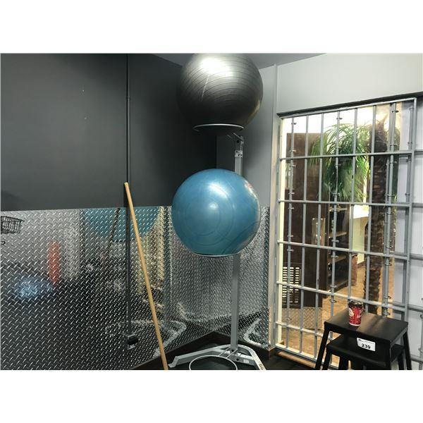 2 YOGA BALLS (APPROX. 22  & 24 ) PLUS STAND