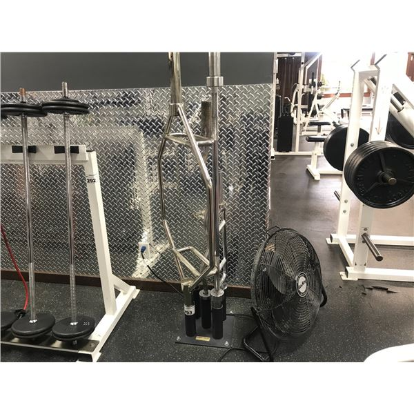 BODY-SOLID BARBELL RACK WITH 4 ASSORTED BARBELLS INCLUDING FLOOR FAN