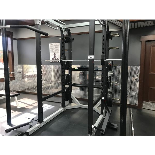 WEIGHTLIFTING STATION - INCLUDES FULL BAR & APPROX 670LBS OF WEIGHTS 28 PCS