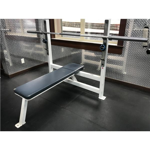 WEIGHT LIFTING BENCH WITH PRO BAR MINOR UPHOLSTERY DAMAGE