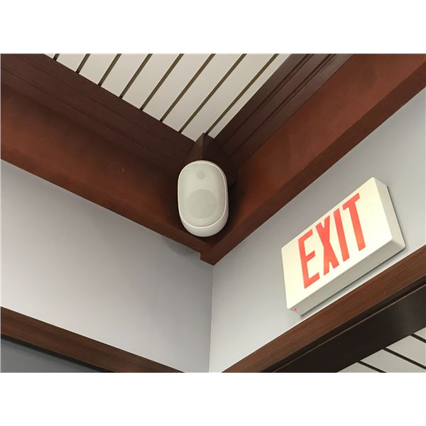 6 WALL MOUNTED SPEAKERS (MUST BE REMOVED FROM CEILING) MAIN FLOOR EQUIPMENT ROOM
