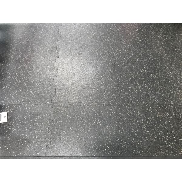 *T - APPROX 950 SQ FEET INTERLOCKING 3' SQUARES GREY SPECKLED RUBBER GYM FLOORING