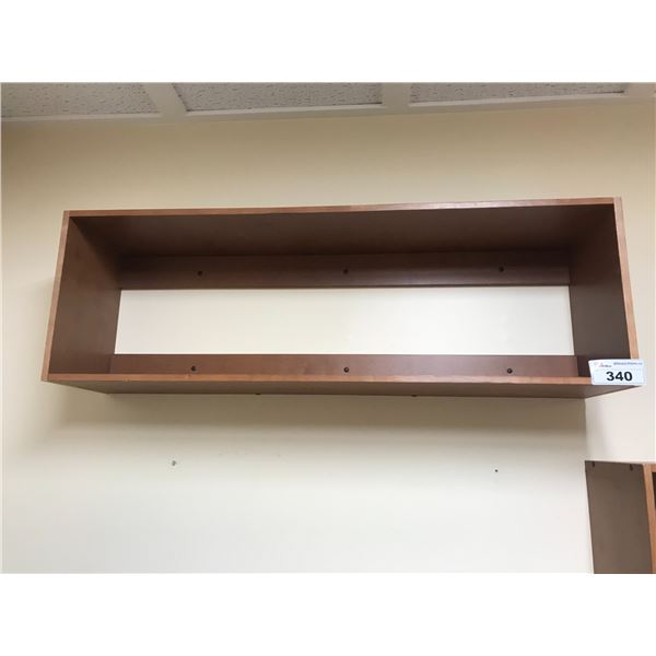 4 WALL MOUNT 4' WOOD SHELVES (MUST BE REMOVED FROM WALL)