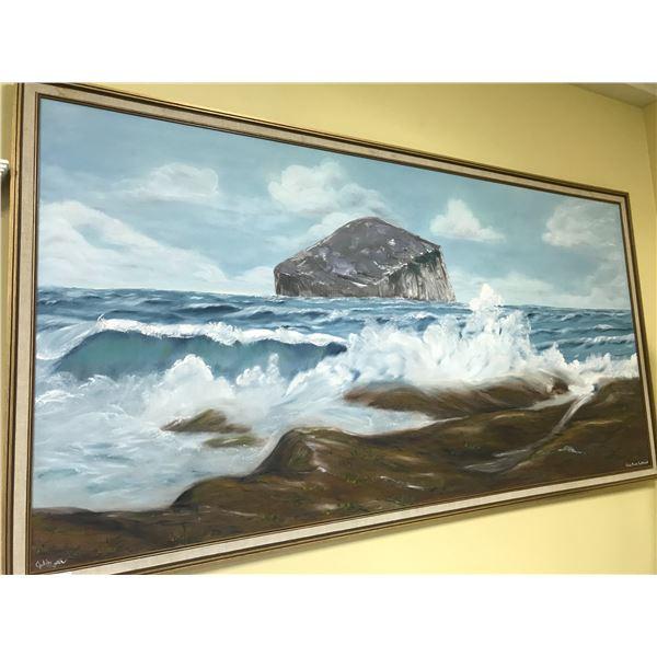 """ORIGINAL ART BY JULIE RUTTER 75"""" X 39"""" OIL ON CANVAS - """"BASS ROCK, SCOTLAND"""""""
