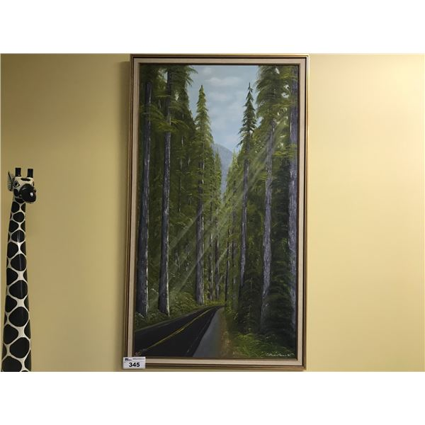 """ORIGINAL ART BY JULIE RUTTER 33"""" X 57"""" OIL ON CANVAS - """"CATHEDRAL GROVE, BC"""""""