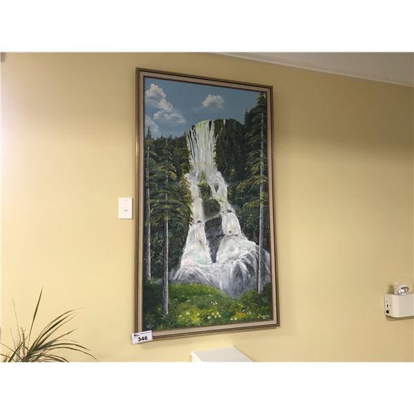 "ORIGINAL ART BY JULIE RUTTER 33"" X 57"" OIL ON CANVAS - ""DELLA FALLS, BC)"