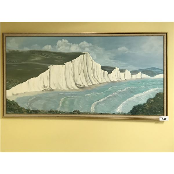 "ORIGINAL ART BY JULIE RUTTER 75"" X 39"" OIL ON CANVAS - ""WHITE CLIFFS OF DOVER, ENGLAND"""