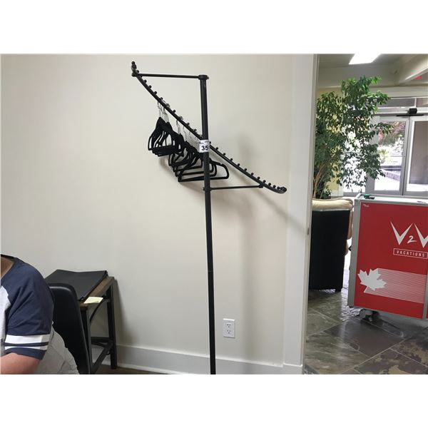 BLACK CLOTHING DISPLAY STAND WITH HANGERS