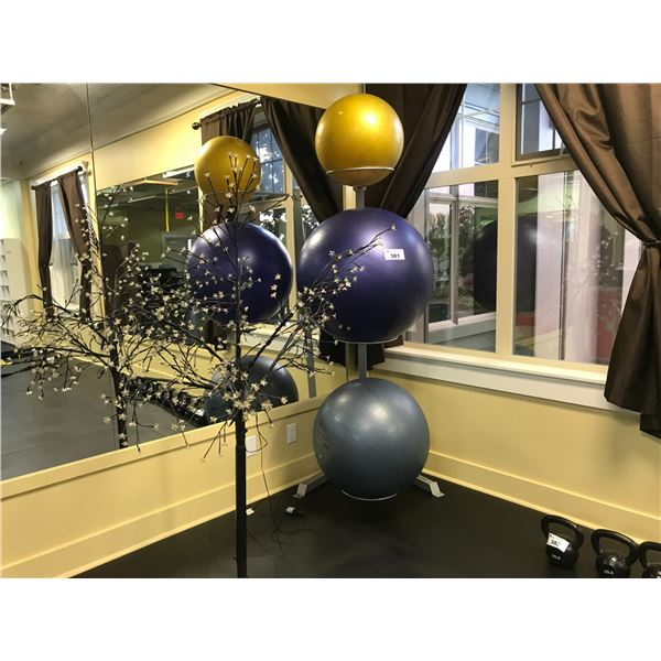3 YOGA BALLS WITH STAND