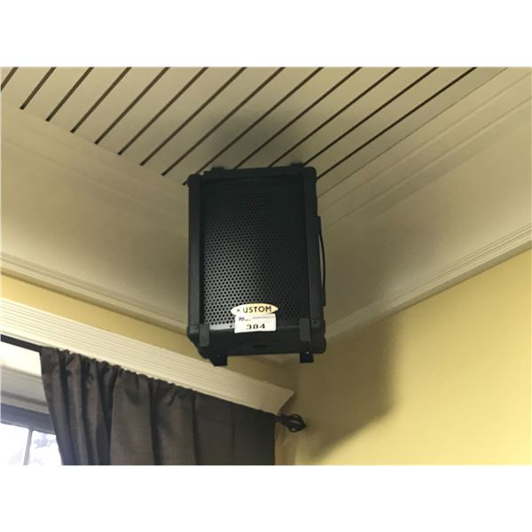 2 KUSTOM CEILING MOUNT SPEAKERS (MUST BE REMOVED FROM CEILING) WITH YAMAHA MG06X MIXER CONSOLE &