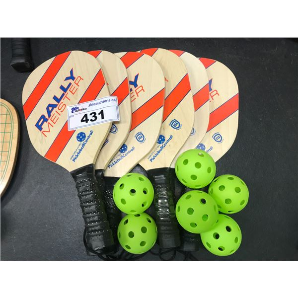 6 X WOODEN PICKLEBALL RACKETS WITH 6 BALLS