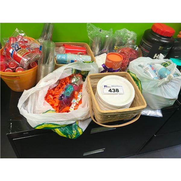 2 BINS OF PARTY SUPPLIES - BINS INCLUDED