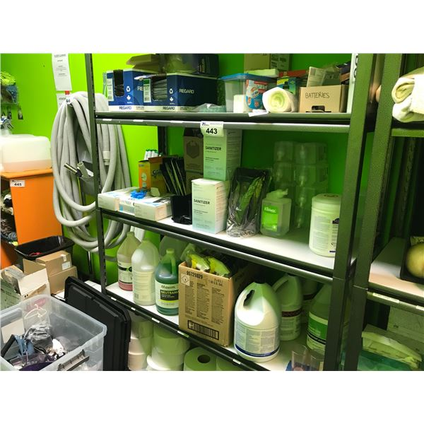 SHELF LOT OF CLEANING SUPPLIES, TOILET PAPER, RUBBER GLOVES, GARBAGE BAGS, SANITIZER, SIGNAGE,
