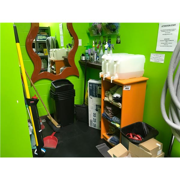 ORANGE SHELF WITH CONTENTS (MIRROR, CLEANING SUPPLIES, GARBAGE CANS, MOPS, BROOMS ETC