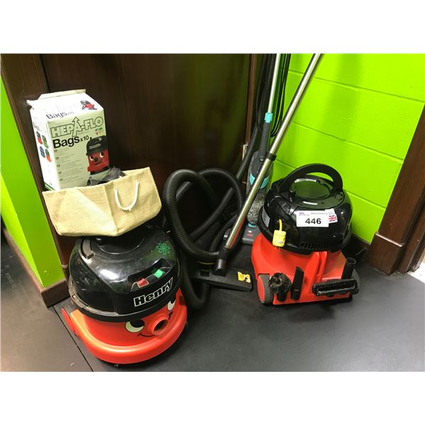NUMATIC HENRY VACUUM CLEANERS (ONE COMPLETE, 2ND ONE REQUIRES HOSE)