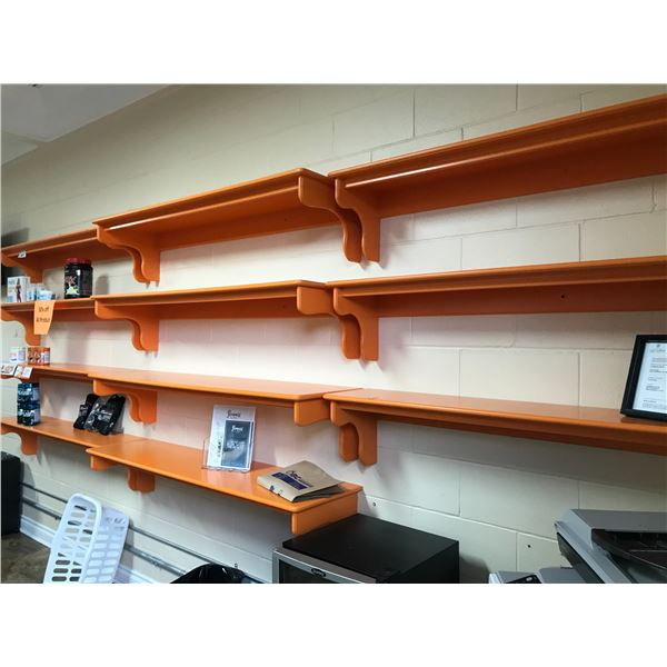 11 ORANGE WALL SHELVES (VARIOUS DEPTHS) - MUST BE REMOVED FROM WALL
