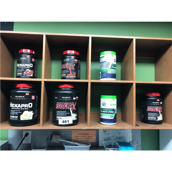ALLMAX ASSORTED PROTEIN POWDER (7 OPEN CONTAINERS APPROX 1/2 FULL)