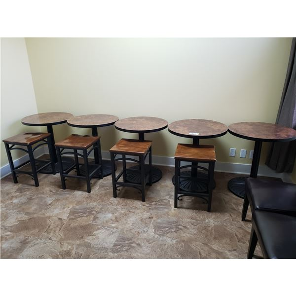 """5 X 27"""" ROUND TABLES & 4 STOOLS"""