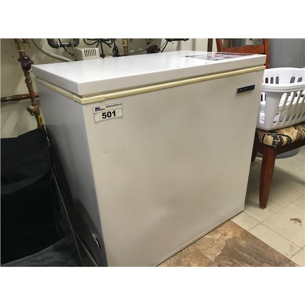"""SMALL CHEST FREEZER (36"""" LONG) WITH CONTENTS"""