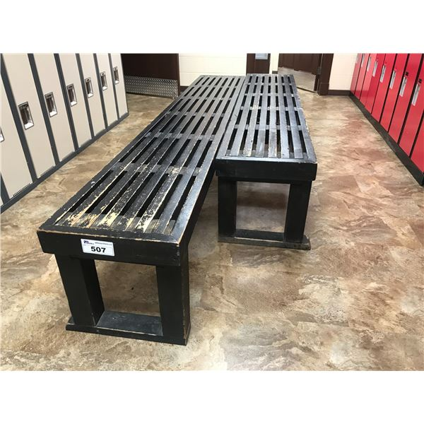 """2 WOODEN SLOTTED BENCHES (110"""" X 18"""" & 89"""" X 18"""")"""