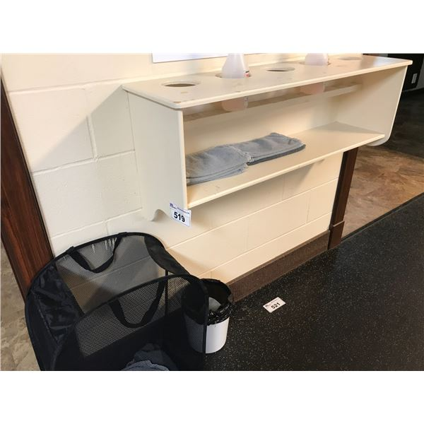 COLLAPSIBLE LAUNDRY BASKET, WOODEN SHELF & SMALL GARBAGE RECEPTACLE