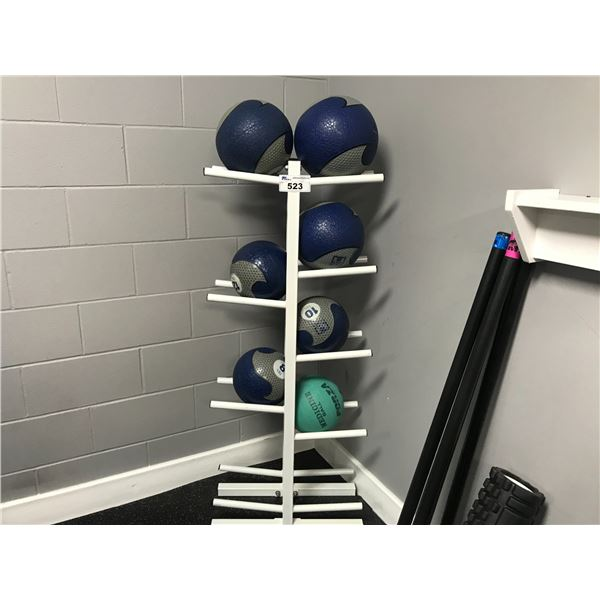 SET OF 7 MEDICINE BALLS WITH STAND