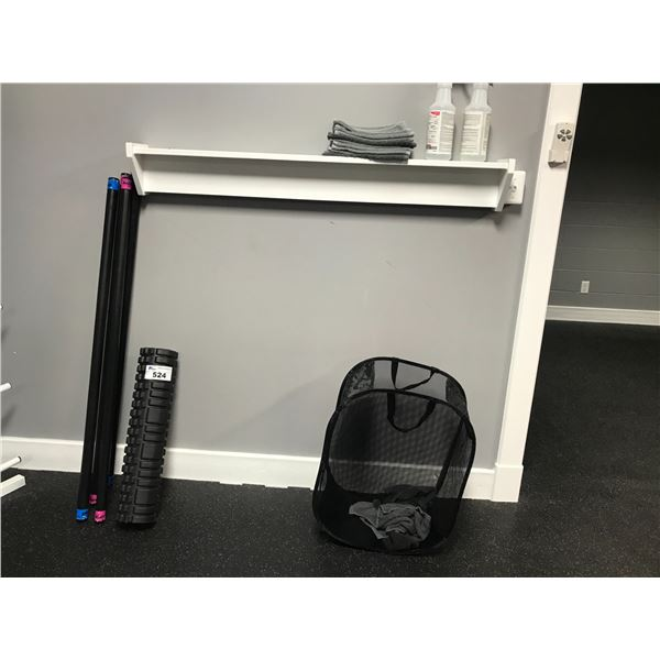 """FOAM ROLLER, 4 X """"THE BODY BAR"""" WEIGHTED BARS, COLLAPSIBLE LAUNDRY BASKET & WALL SHELF"""