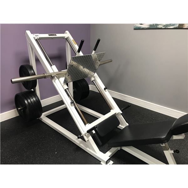 APEX LEG PRESS MACHINE WITH APPROX 590 LBS OF WEIGHTS