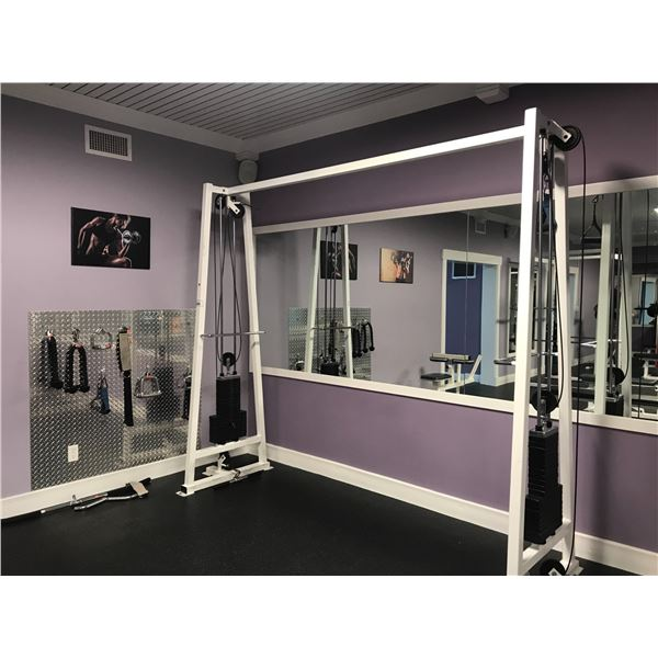 MULTI-FUNCTION CABLE EXERCISE SYSTEM APPROX 10' WIDE - INCLUDES 16 ATTACHMENTS & ALUMINUM CHECKER