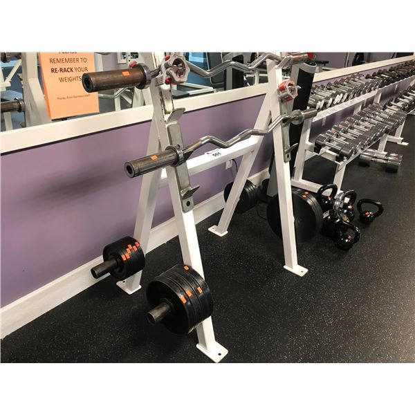 WEIGHT RACK WITH 2 CURL BARS & APPROX 125 LBS OF WEIGHTS