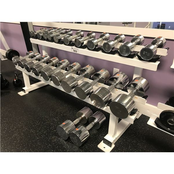 """WEIGHT RACK (62"""" LONG) WITH APPROX  506 LBS CHROME DUMBBELLS"""