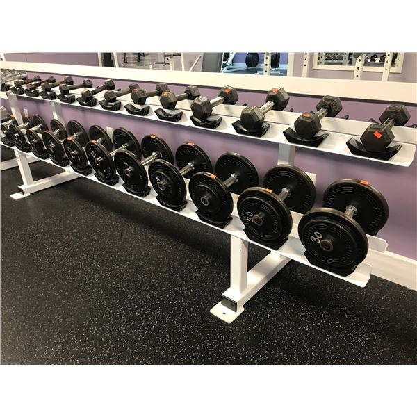 WEIGHT RACK (9' LONG) WITH APPROX  296 LBS DUMBBELLS