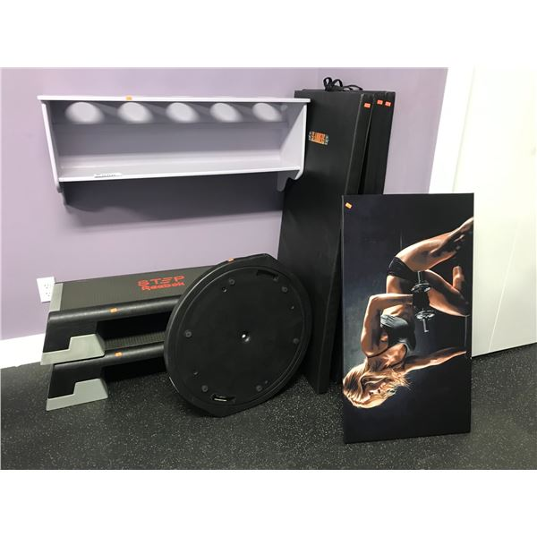 GROUP LOT OF WALL SHELF (MUST BE REMOVED FROM WALL) 2 X STEPPERS, BOSU BALANCE TRAINER & 3 WORKOUT