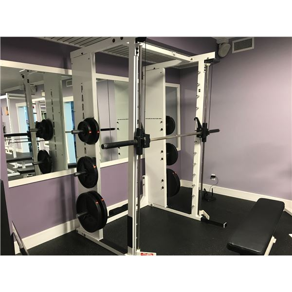 PARAMOUNT WEIGHT TRAINING MACHINE WITH APPROX 320 LBS OF WEIGHTS