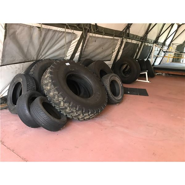 GROUP OF 15 ASSTD TIRES (USED FOR WEIGHT/MUSCLE TRAINING