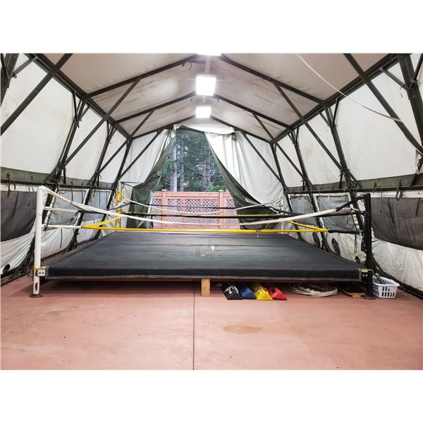 """APPROX 18'9"""" X 18'9"""" BOXING RING TOP ROPE (NEEDS REPAIR) MATT COVER REQUIRES REPAIR (BOLTED DOWN"""