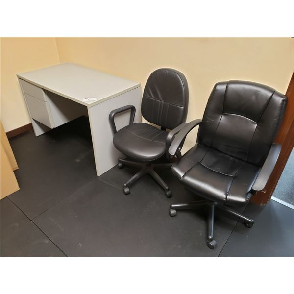 GREY DESK & 2 OFFICE CHAIRS